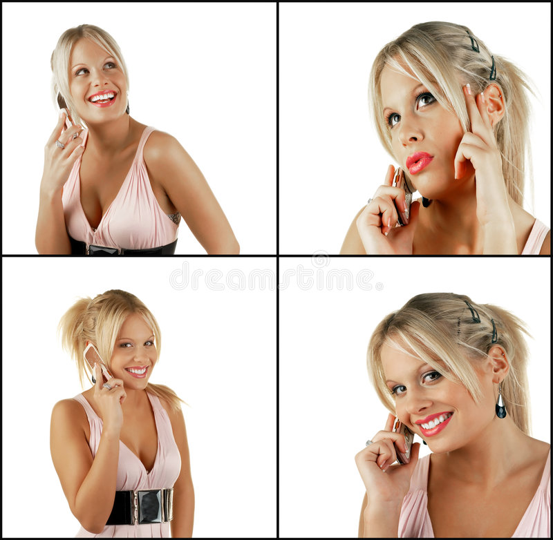 Download Female Blonde Beauty Using Cell Phone Stock Image - Image: 8029545