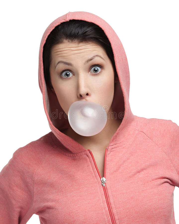 Download Female Blows Out Pink Bubble Gum Stock Photo - Image: 26983436