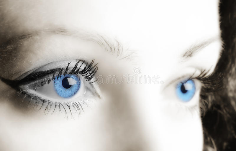 Female blue eyes. A photo close up, a part face royalty free stock images