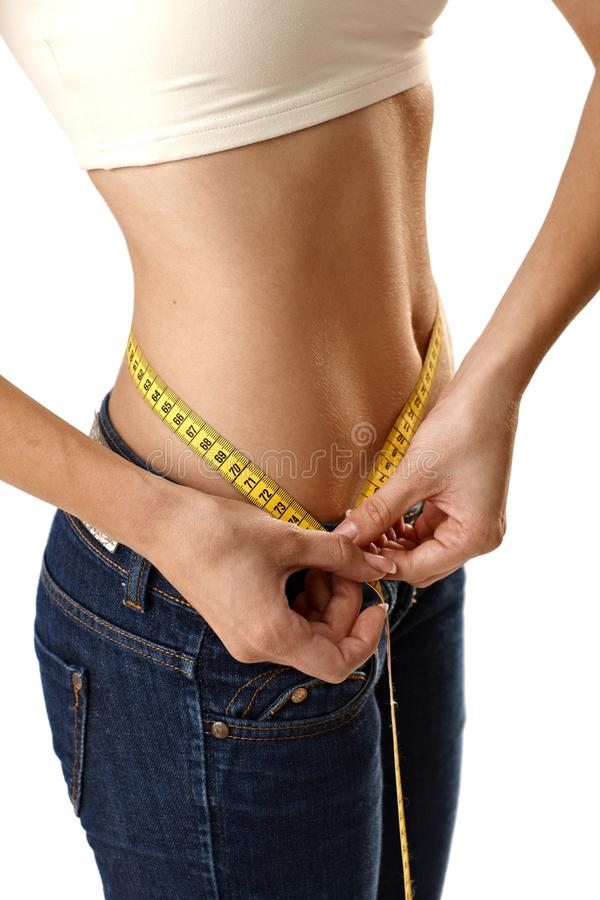 Female body measuring belly size