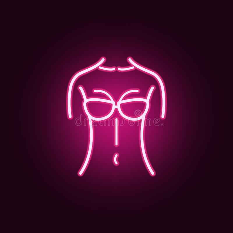 Female body silhouette front belly neon icon. Elements of body parts set. Simple icon for websites, web design, mobile app, info. Graphics on dark gradient vector illustration