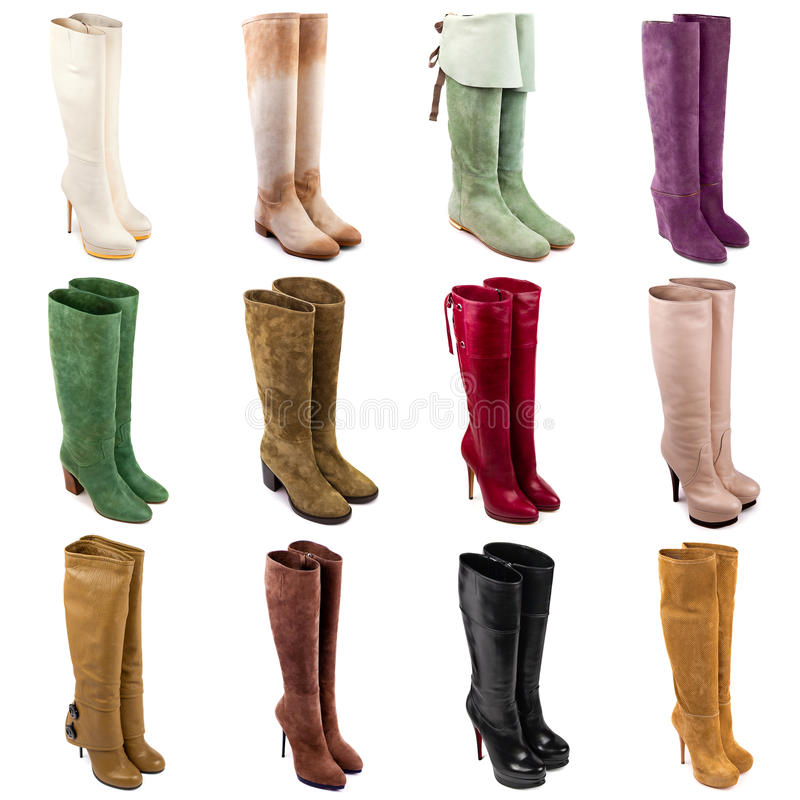 Female boots collection stock photo