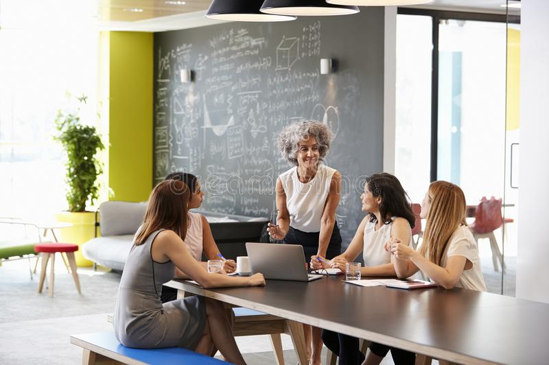 Female boss addressing her colleagues at an informal meeting royalty free stock photo