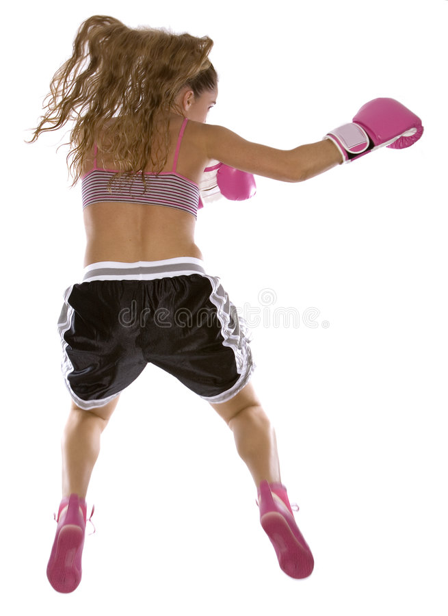 Female boxer. Active woman female boxer jumping high on white background stock image