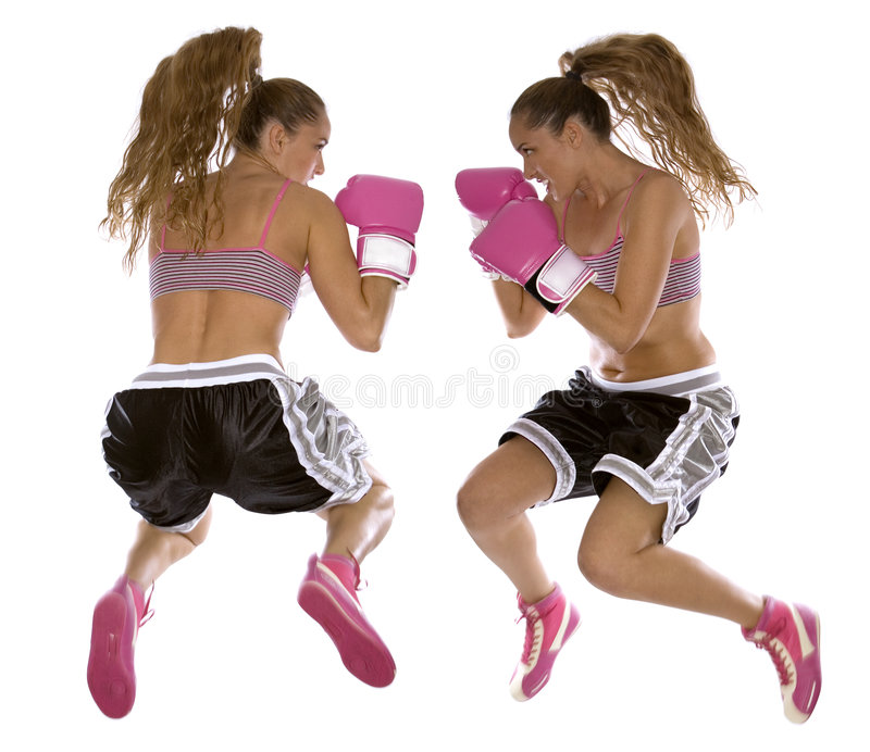 Female boxer. Active woman female boxer jumping high on white background stock images