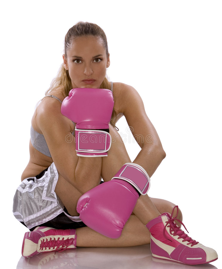 Download Female boxer stock photo. Image of jump, kickboxing, jumping - 5527784