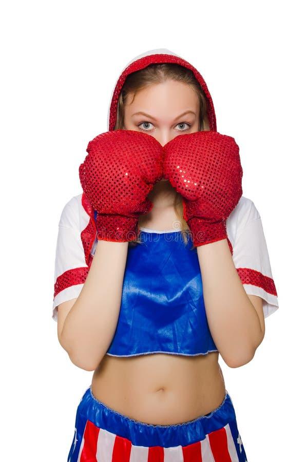 Female boxer isolated. On the white background royalty free stock photos