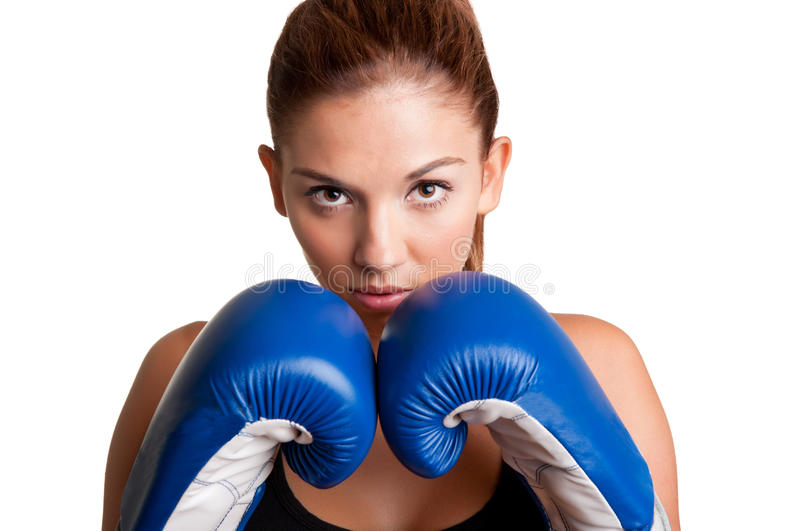 Female Boxer Ready to Fight royalty free stock images