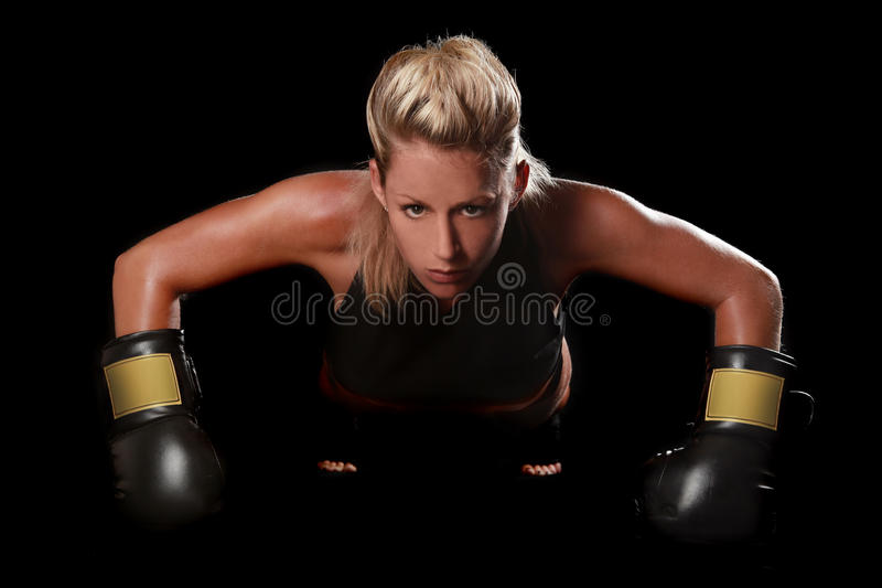 Female With Boxing Gear royalty free stock photography