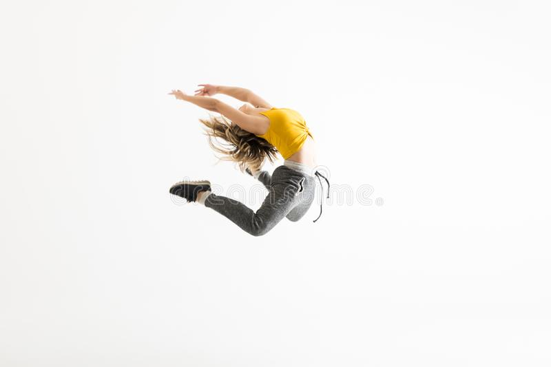Female Break Dancer Showing Off Some Of Her Dance Moves stock photography