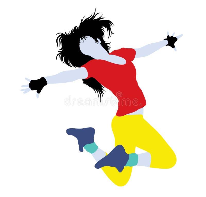 Female Break dancing Silhouette royalty free illustration