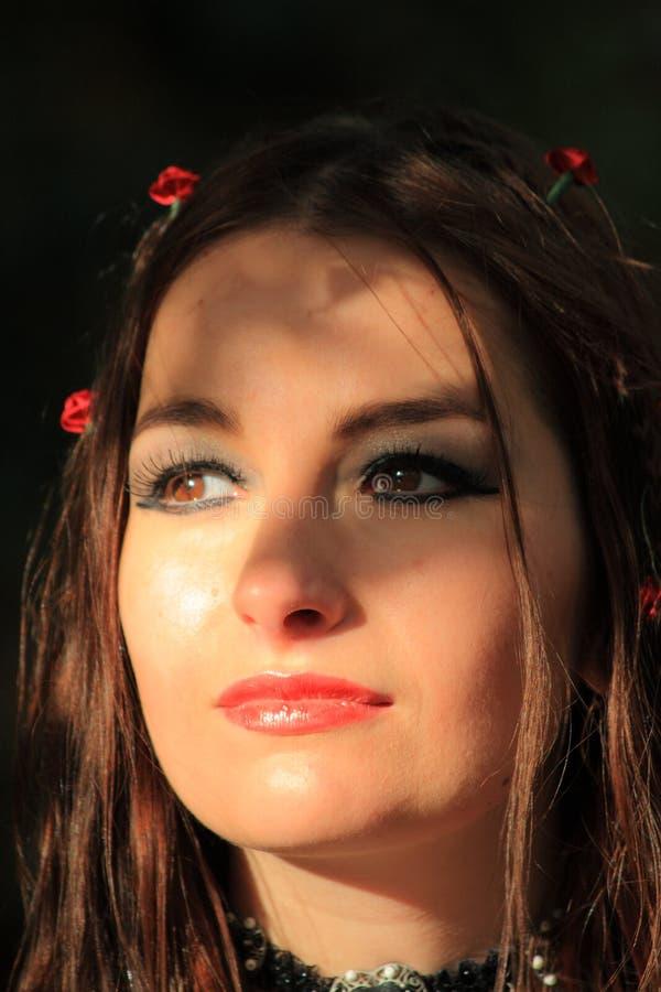 Female brunette gothic portrait royalty free stock images