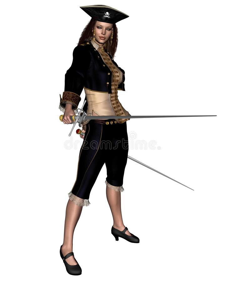 Female Buccaneer with Twin Rapiers. 3d Digitally rendered illustration of a female buccaneer or pirate carrying twin rapiers vector illustration