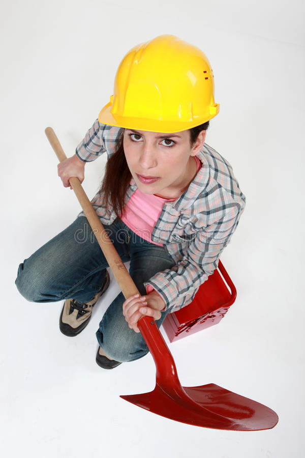Download Female builder stock image. Image of builder, toolbox - 24232281