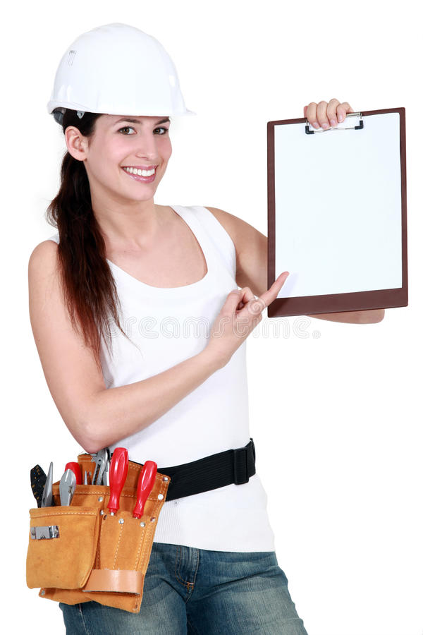 Download Female Builder With A Clipboard Stock Image - Image: 24620261