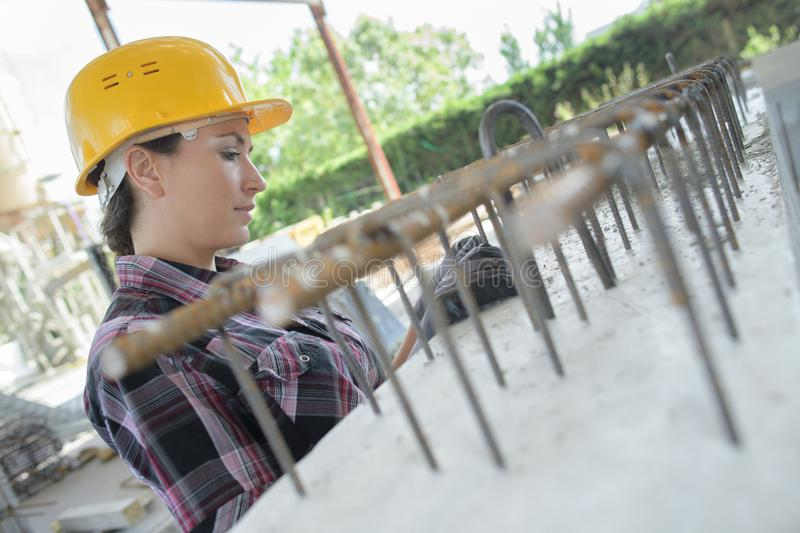 Female builder at work royalty free stock image