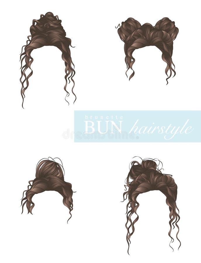 Free Female Bun Hairstyles Set On White Background Stock Images - 179436094