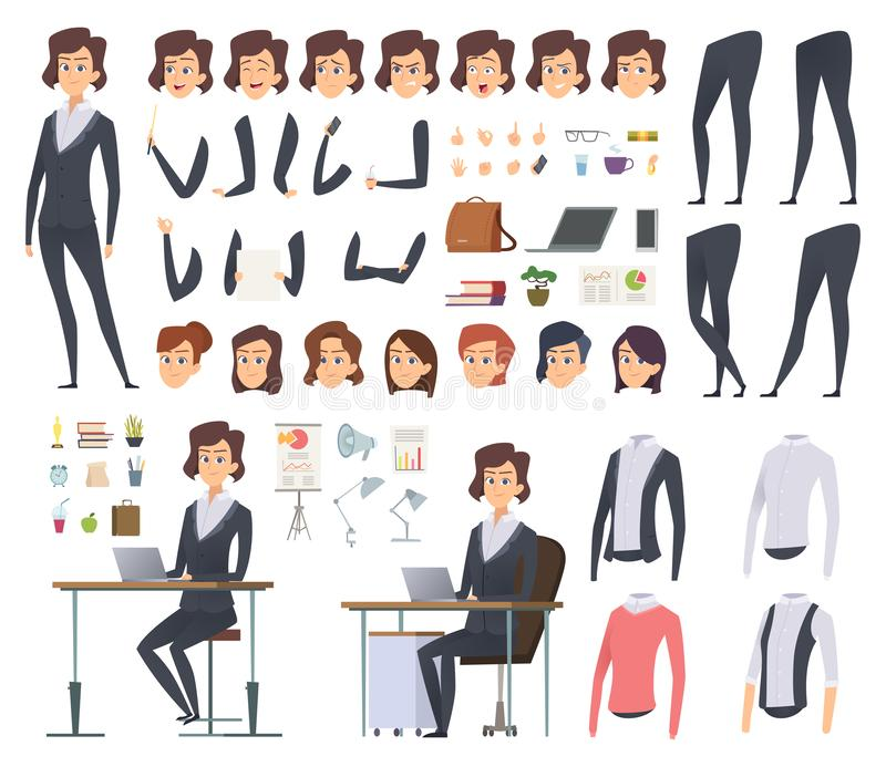 Female business animation. Director office manager woman body parts clothes and business wardrobe items vector character vector illustration
