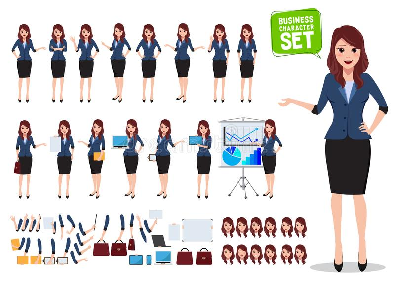 Female business character vector set. Office woman talking with various poses. And hand gestures for business presentation isolated in white. Vector royalty free illustration