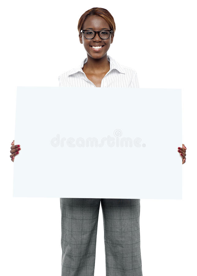 Download Female Business Executive Holding Blank Billboard Stock Image - Image: 26509941