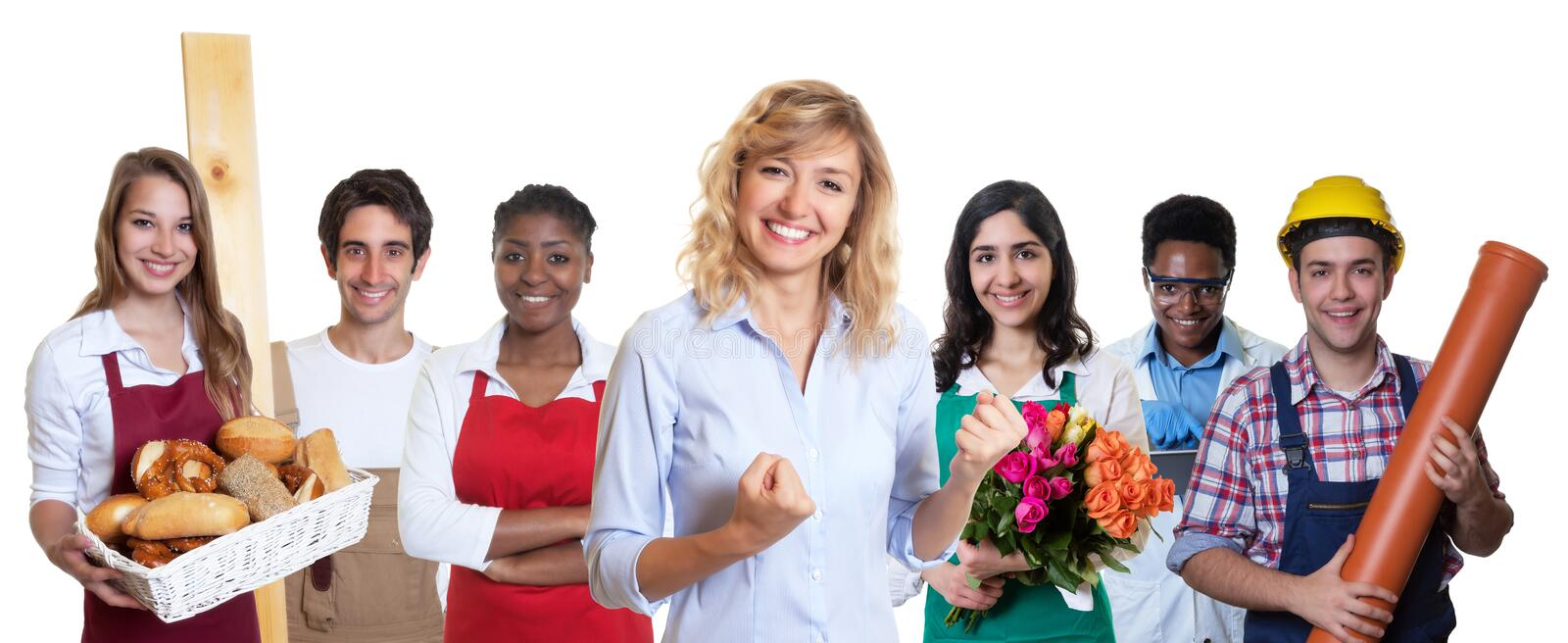 Female business trainee with group of other international apprentices stock photos