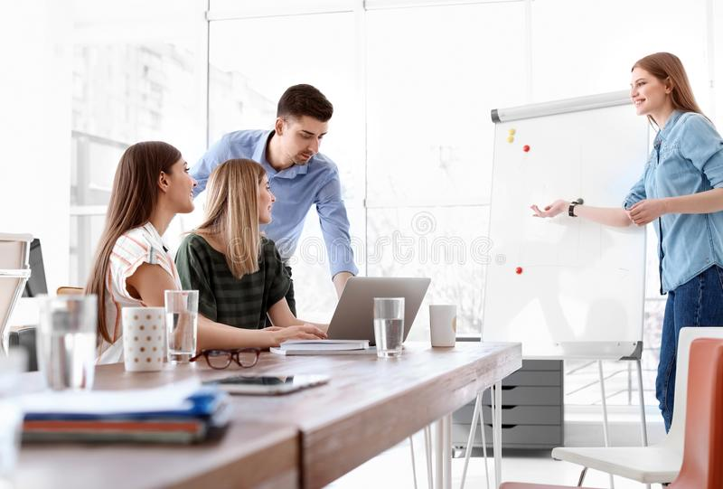 Female business trainer giving lecture royalty free stock image