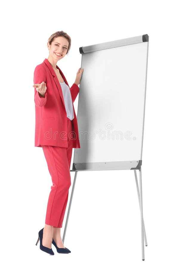 Female business trainer giving presentation stock photos