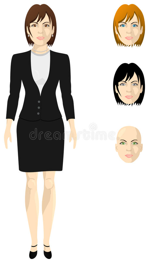Female businesswoman in a black shingle. Female businesswoman in a white shirt and black shingle, thickness proportional body, the different colors of eyes and vector illustration