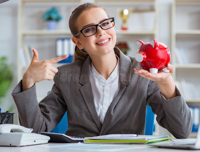 Female businesswoman boss accountant working in the office stock photos