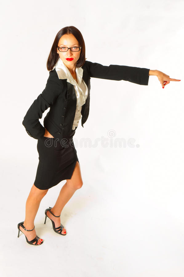 Female businesswoman pointing stock photos
