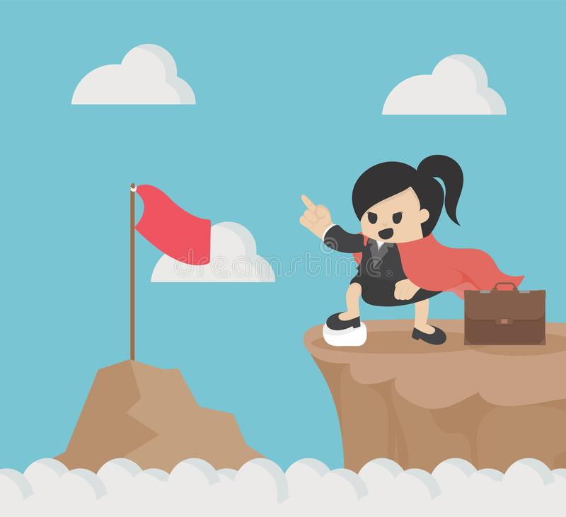 Female businesswoman who is on top of him, showing her confidence and goals on top of that mountain. Eps.10 stock illustration