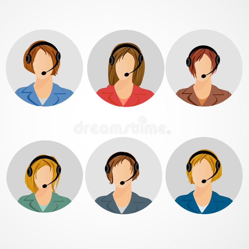 Female call center operator icon set - woman in headphones avatar collection. Customer support, client services, phone royalty free illustration