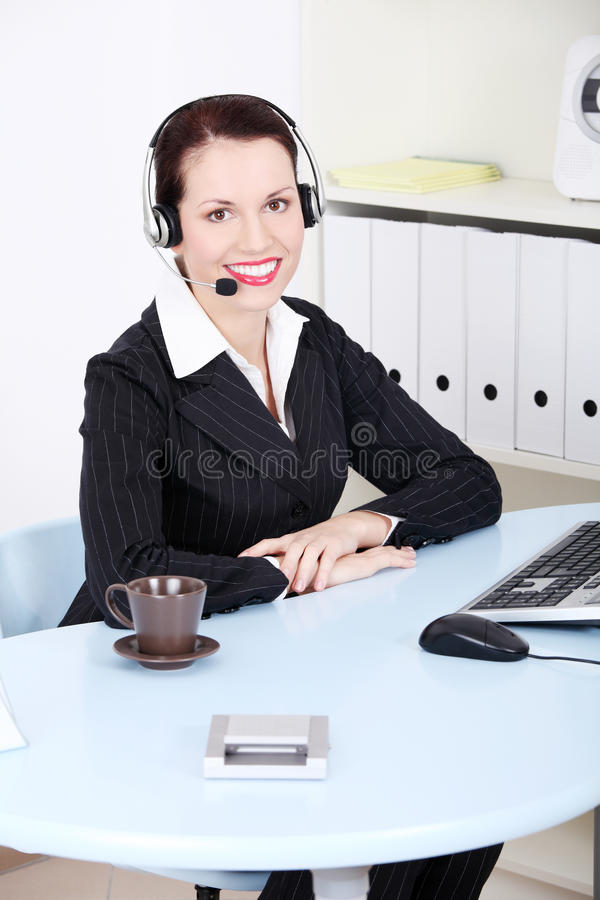 Female call centre employee