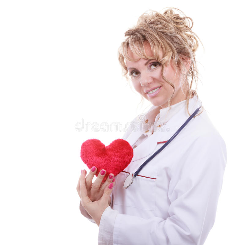 Female cardiologist with red heart. stock photos