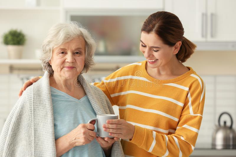 Female caregiver and elderly woman with cup of tea. Female caregiver and elderly women with cup of tea in kitchen stock photos