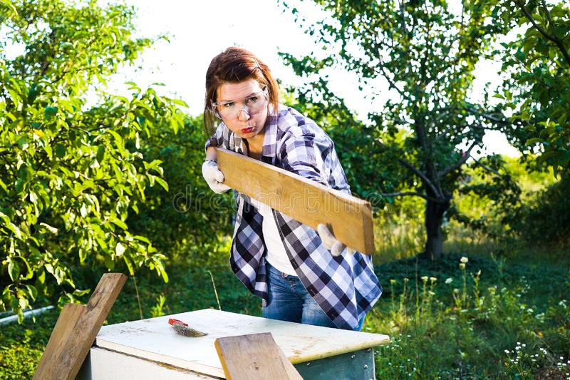 Female carpenter in protective glasses blowing off dust from wooden plank royalty free stock photo