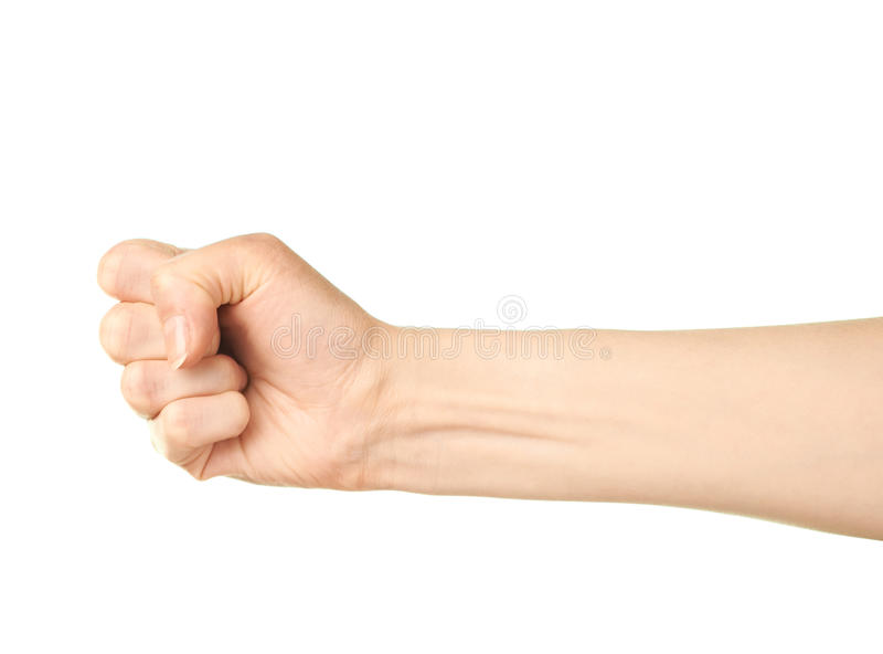 Female caucasian hand gesture isolated stock image