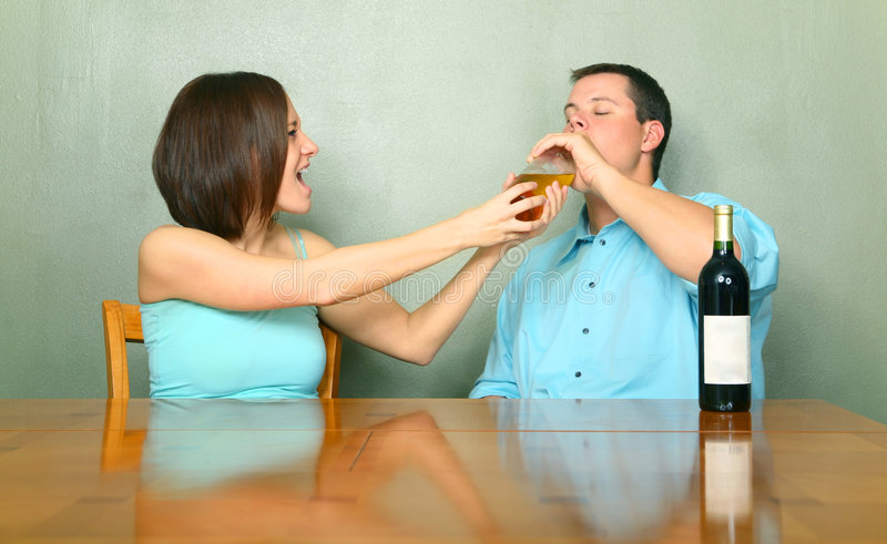 Download Female Caucasian Stopping Drunk Male Stock Image - Image: 7452903