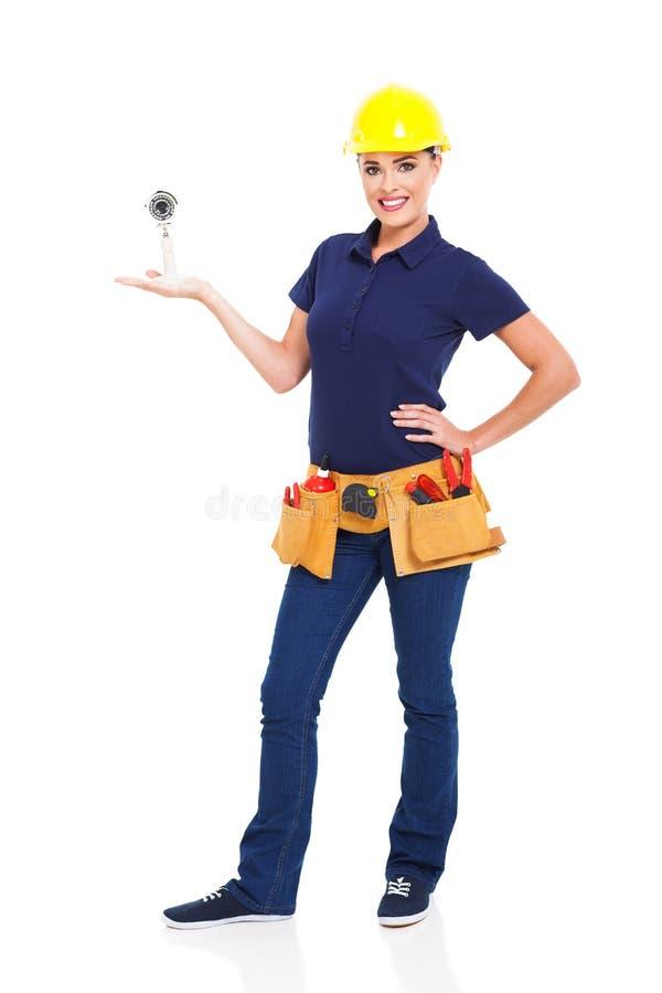 Female cctv installer stock photos