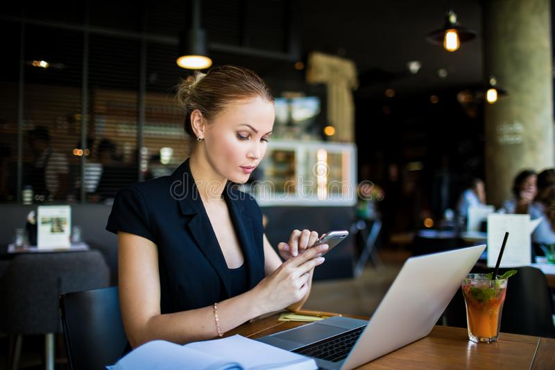Female CEO online banking stock photos