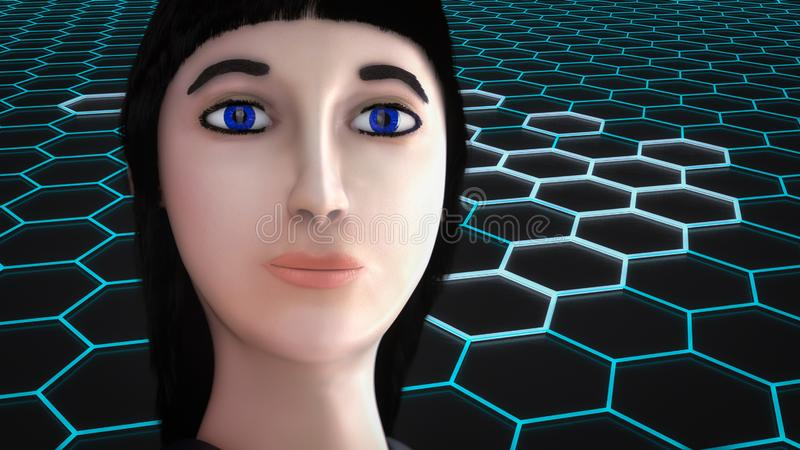 A female character in cyberspace vector illustration