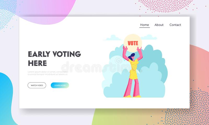 Female Character Holding Vote Banner in Hands, Law-abiding Citizen Execute Rights and Duties in Political Life of Country. Website Landing Page, Web Page stock illustration