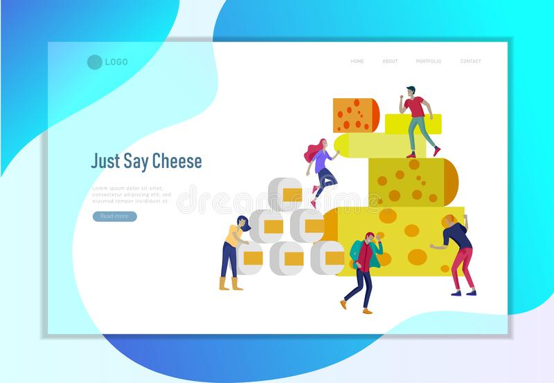 Female Character with Journal Control Cheese Packaging Landing Page. Organic Milk Food Making Concept. Dairy Production stock illustration