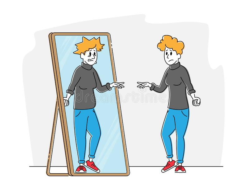 Female Character with Low Self-esteem Looking at Mirror See herself Reflection as Ugly Woman with Old Haggard Face. Disgust to Self Appearance, Depression royalty free illustration