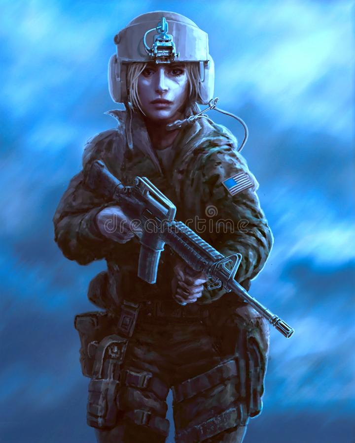 Female character in military uniform and helmet pilot with weapon. Drawing illustration. Female character in military uniform and helmet pilot with weapon stock illustration