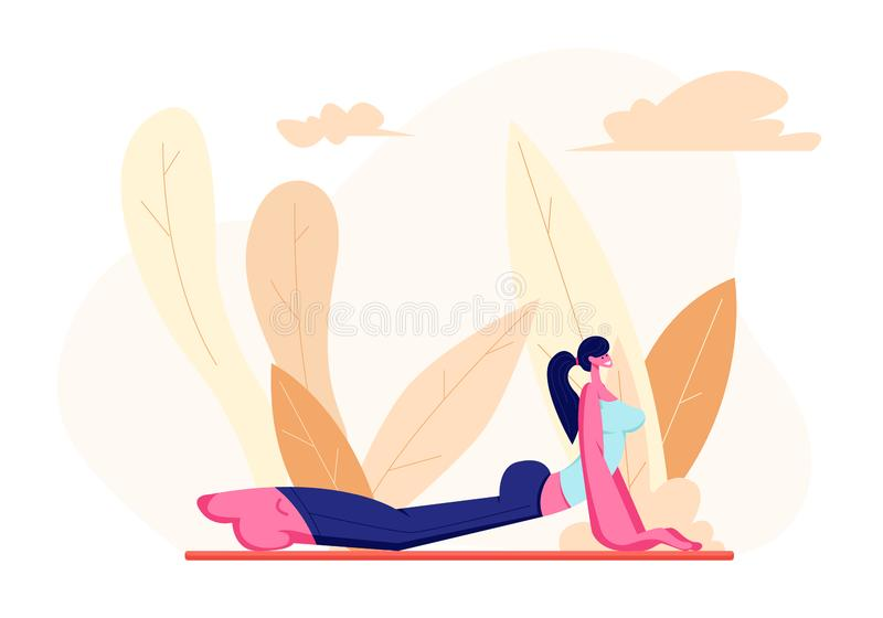 Female Character in Perfect Physical Shape Doing Fitness, Yoga or Aerobics Exercises on Nature, Aerobic Training for Good Feeling royalty free illustration