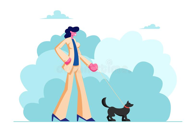Female Character Walk with Dog in Public City Park. Woman in Fashioned Suit Spending Time with Pet Outdoors on Summer Time. Relax, Leisure, Communication with royalty free illustration