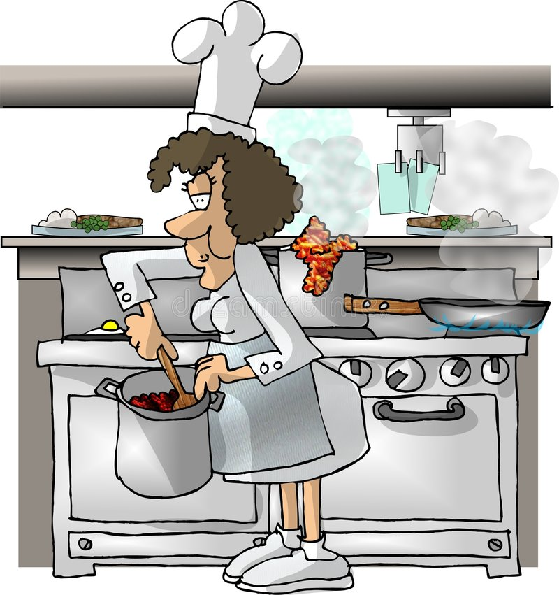 Female Chef. This illustration that I created depicts a female chef in a kitchen stock illustration