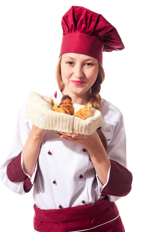 Download Female Chef With Croissant Stock Photography - Image: 27022242