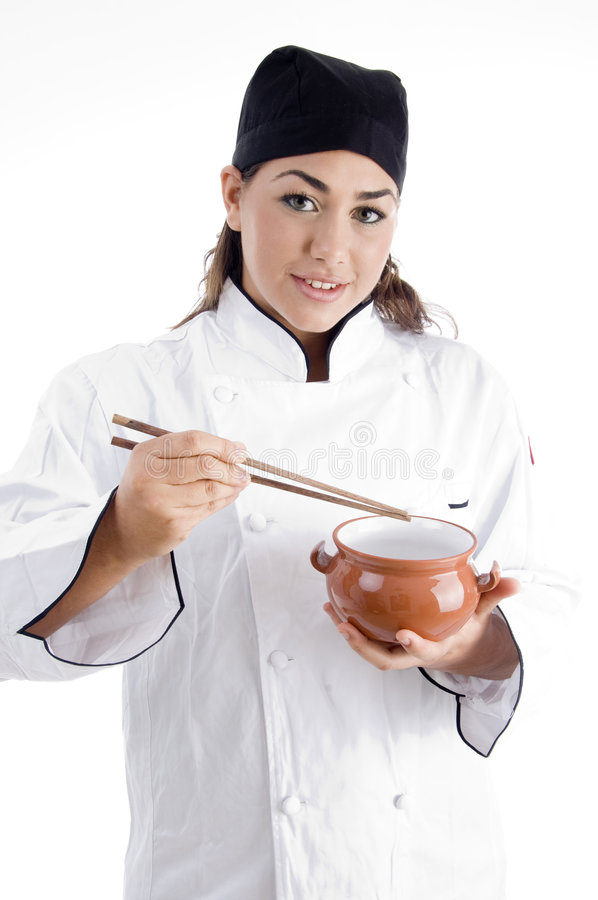 Download Female Chef Posing With Chopstick And Bowl Stock Image - Image of cute, gorgeous: 7361131